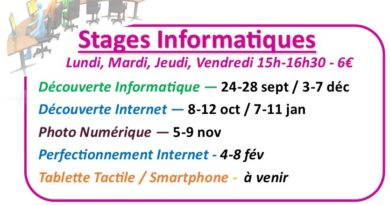 Stages d'initiations informatiques de septembre à février 2019